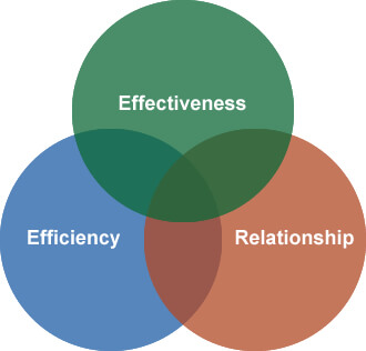 Venn diagram of effectiveness, efficiency, and relationship