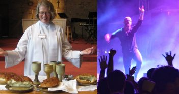 Photo contrasting traditional worship and contemporary/concert-style worship
