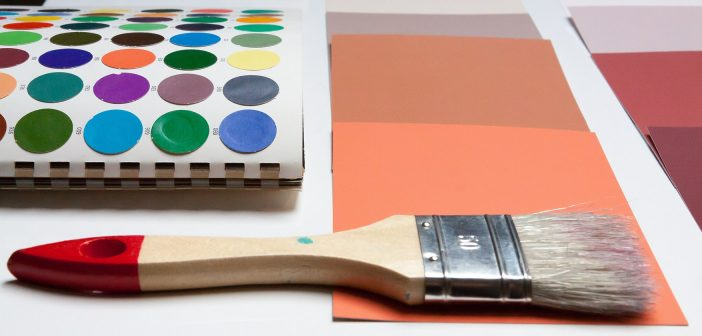 Photo of a paint brush and color swatches