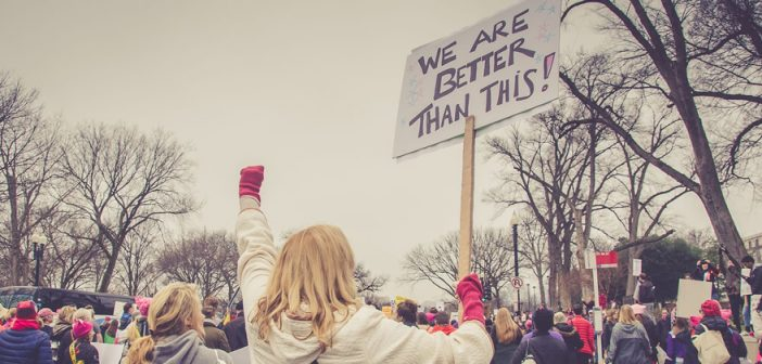 "Photo of person at a protest rally with a sign that reads ""We are better than this!"""