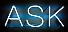 Photo of ASK in neon