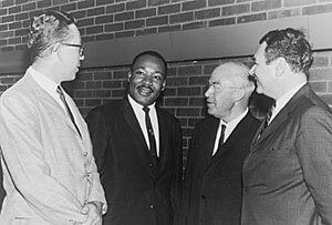 Group photo including Dr. Martin Luther King, Jr., and Dr. L. Harold DeWolf