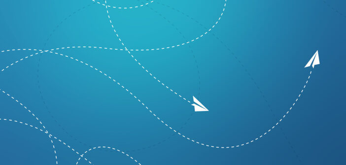 Graphic of paper airplanes looping through the sky