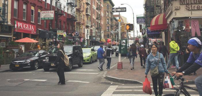 Busy city sidewalk