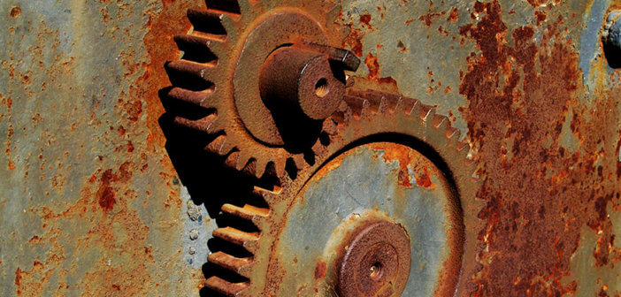 Rusted machine gears