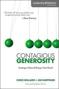 CONTAGIOUS GENEROSITY book cover featuring a Newton's cradle