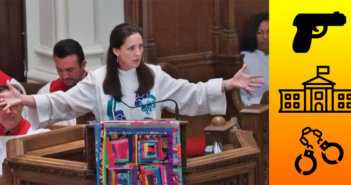 Rev. Ginger Gaines-Cirelli preaching from the pulpit beside icons of a gun, the White House, and handcuffs