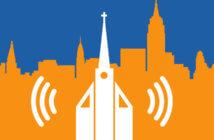Church against a city skyline