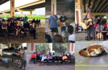 Photo collage of a worship service beneath an interstate bridge