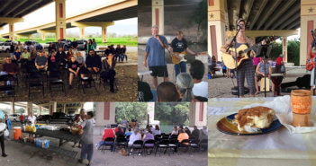 Photo collage of a worship service beneath an interstate bridge