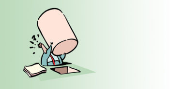Illustration of a person trying to fit a square peg in a round hole