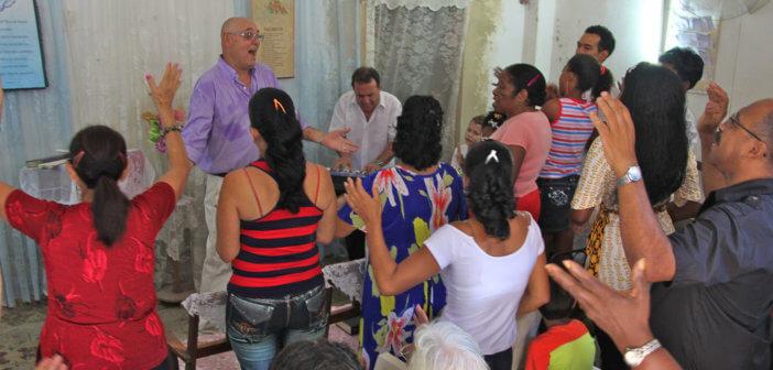 Worship service in a Latinx church