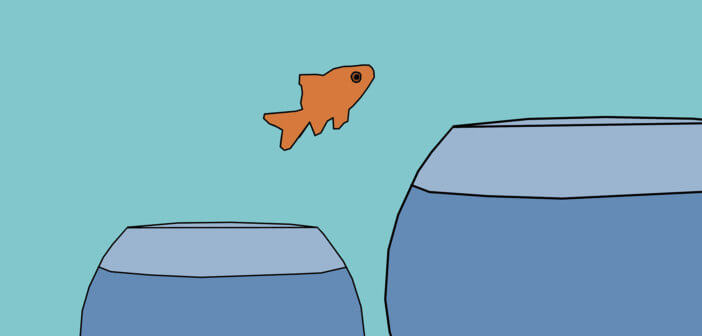 Illustration of a goldfish jumping through the air from a smaller fishbowl to a larger one