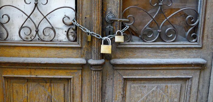 Chained and locked church doors