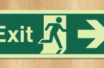 Running man emergency exit door sign