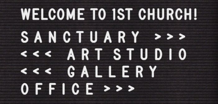 Felt letter board pointing the way to the sanctuary, art studio, gallery, and office