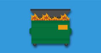 Illustration of a dumpster fire
