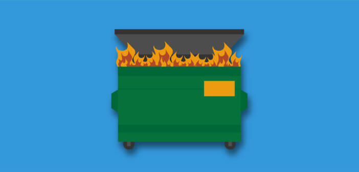 Illustration of a dumpster fire