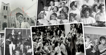 Old black and white photos of church activities