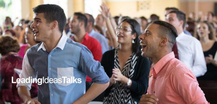 Young adults enjoying Sunday worship