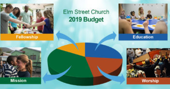 Pie chart with arrows pointing to photos of church activities