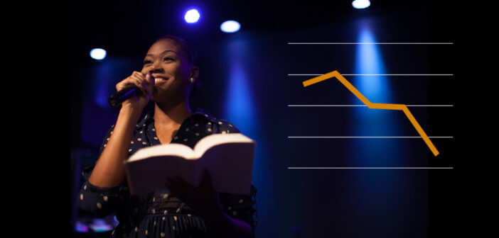 Photo of a young female pastor preaching plus a line graph showing a large decrease