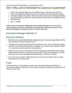 Sample page of Nehemiah Study and Discussion Guide