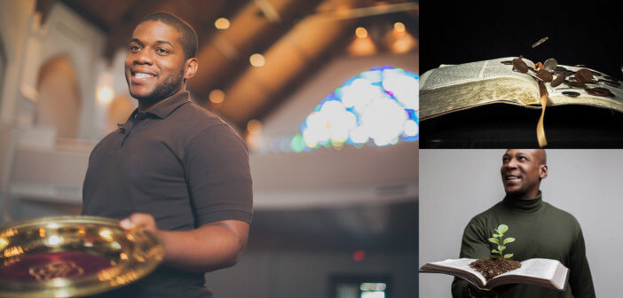 Photos of an usher with a collection plate, an open Bible with coins, and a pastor with a Bible and seedling representing growth