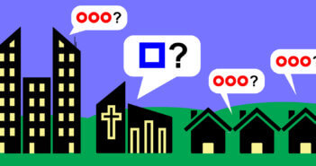 Graphic with people in homes asking one question and the church asking a different question