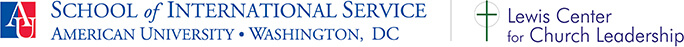 American University School of International Service logo and Lewis Center for Church Leadership logo
