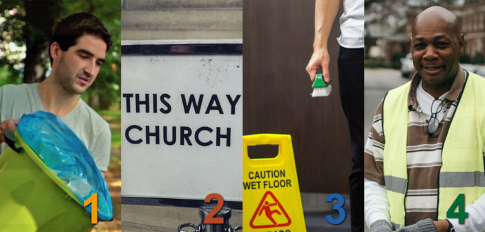 Images of a person decluttering a church, a church navigation sign, a person cleaning and mopping, and a parking attendant