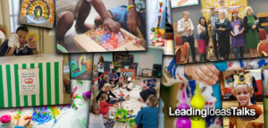 Collage of messy church groups, activities, and crafts