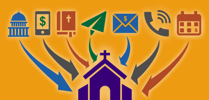 Graphic illustrating with icons 7 ways that money can flow into a church during the COVID-19 crisis