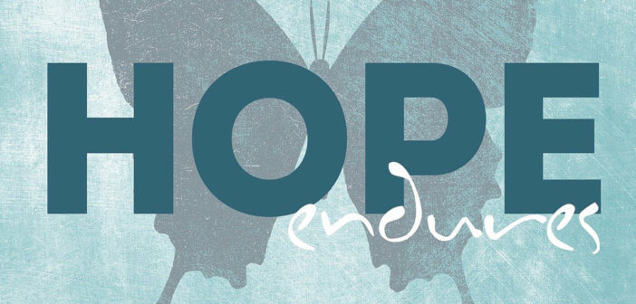 Graphic featuring a butterfly and the words HOPE ENDURES
