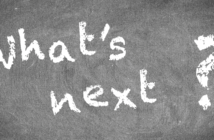 What's next? written in chalk on a blackboard
