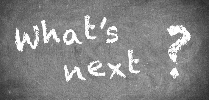 What's next? written in chalk on a blackboard