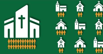 Graphic showing 1 large church with the same attendance as many smaller churches togeter