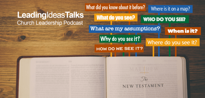 The words Who? What? When? Where? How? pointing to an open page of the New Testament