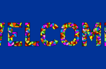 WELCOME written in colorful stained glass