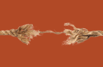 Fraying rope being pulled in both directions