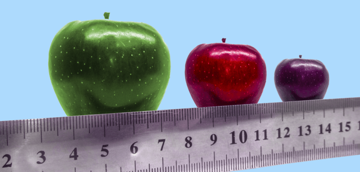 A ruler beneath a row of three applies in large, medium, and small sizes