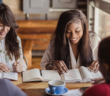 Young people in a Bible study in a coffee shop