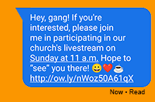 Text message inviting friends to online worship