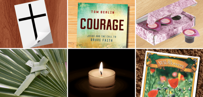 Collage of cross tattoo, Courage book, Communion kit, palm cross, votive candle, and seed packet