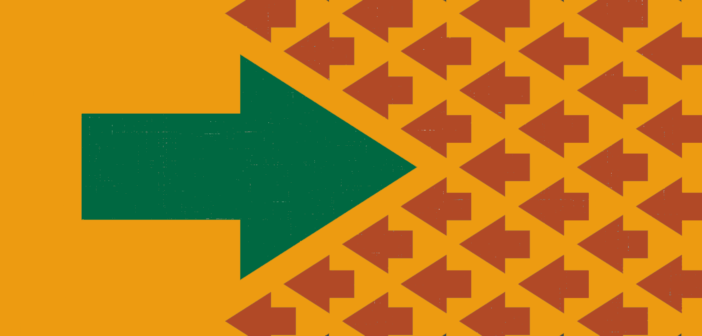 A big right-pointing arrow in tension with many small left-pointing red arrows