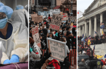 Photo collage of a physician treating a COVID-19 patient, a Black Lives Matter protest, and the riot at the Capitol