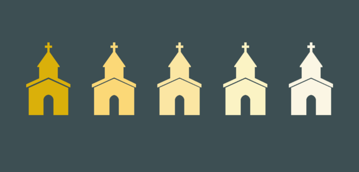 Graphic of church icons from book cover