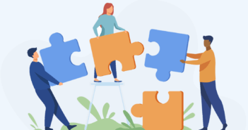 Illustration of people putting giant puzzle pieces together