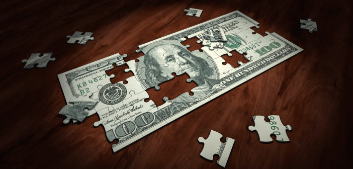 Puzzle of a hundred dollar bill