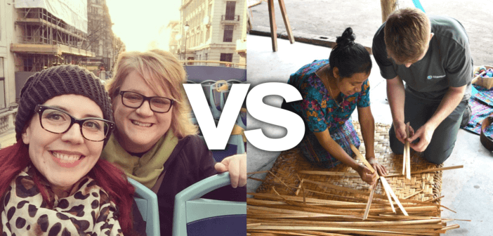 Contrasting photos of tourist riding a double decker tour bus versus a traveler learning a craft in another country